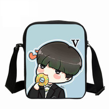 цена на Korean BTS Bags Cute Cartoon Printing Messenger Bags With SUGA Rap Monster JIN J-HOPE JUNG KOOK JIMIN V Shoulder Bag Girls Fans