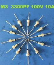 (100 cái) bộ lọc Emi tụ feedthrough tụ loạt M3/3300PF/100VDC/10A/332