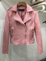 2018 New Elegant Autumn Winter Zipper Basic Suede Jacket Coat Motorcycle Jacket Women Outwear Pink Slim Short Winter Jacket S XL