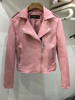 2017 New Elegant Autumn Winter Zipper Basic Suede Jacket Coat Motorcycle Jacket Women Outwear Pink Slim