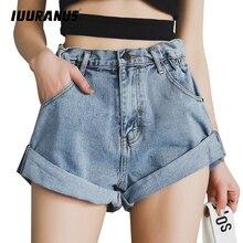 IUURANUS Vintage High Waist Crimping Denim Shorts Women 2019 Korean Style Casual Jeans Summer Hot Short Pants
