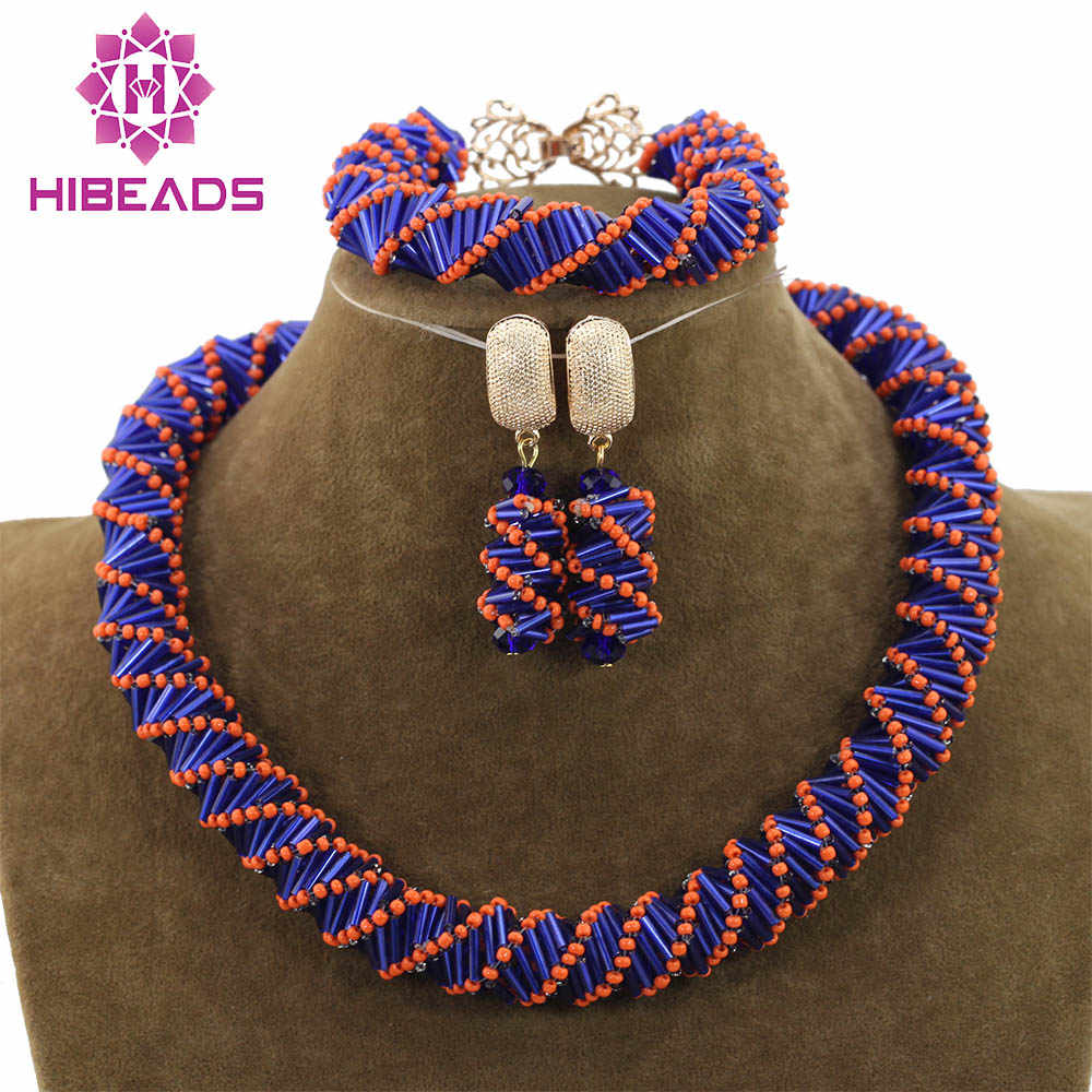 Unique Handmade Choker Costume Jewelry Set Orange/Blue Mix Jewelry Beads Necklace Set for Party Free Shipping ABH277