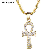 Krzyż wisiorek ze stopu dla mężczyzn złoty/srebrny klucz życia egipski naszyjnik charms Hip Hop biżuteria Bling Iced Out Chain Crystal Ankh(China)