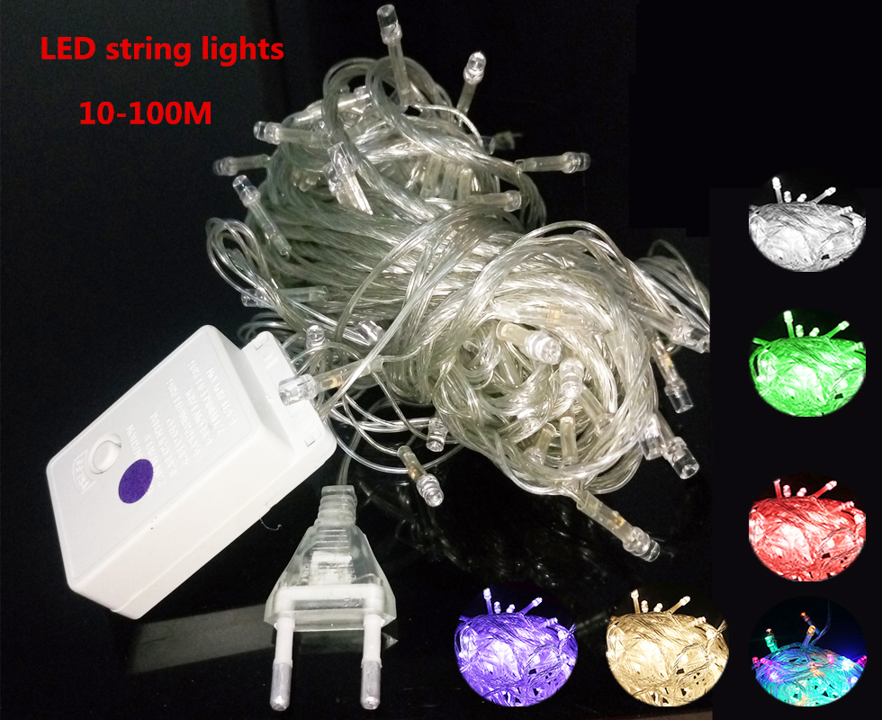 Christmas String Lights 10M 20M 30M 50M 100M 110V / 220V LED String Lights 7 Color LED Christmas Fairy Party Deco String Lights