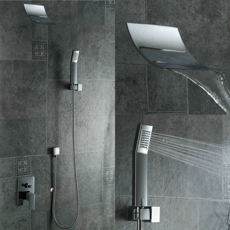 Free shipping new fashion square waterfall shower set wall mounted shower faucet kit PB-304 free shipping polished chrome finish new wall mounted waterfall bathroom bathtub handheld shower tap mixer faucet yt 5333
