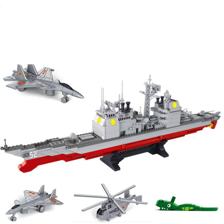 Sluban Military Series Army NAVY Warship Model Building Blocks CRUISER Plane Carrier Bricks Gift Compatible with Lego 883PCS sluban 883pcs military series army navy warship model building blocks cruiser plane carrier bricks gift toys for children