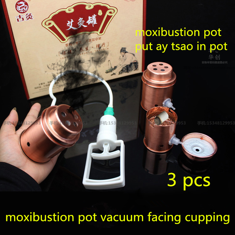 Household moxibustion pot vacuum copper facing cupping 3pcs/set Cupping device Ay Tsao/asiatic wormwood acupuncture Moxibustion 500 3 1 mugwort ay tsao asiatic traditonal chinese medicinal materials moxa wool floss warm channel and expelling cold