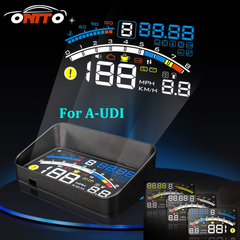 For A1/A2/A3/A4/A5/A6/A7/A8/Q1/Q3/Q5/Q7 Universal 5.5 4E Car OBD2 II EUOBD Car HUD Head Up Display projector auto lamp lighting rastp m9 hud 5 5 inch head up windscreen projector obd2 euobd car driving data display speed rpm fuel consumption rs hud011