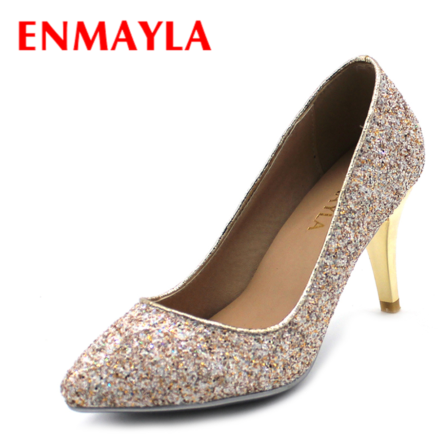 ENMAYLA Glitter High Heels Ladies Shoes Women Pointed Toe Pumps Sexy Bling Party Wedding Shoes Woman Green White Gold Colors new 2018 women pumps party bling high heels gold silver fashion glitter heels women shoes sexy wedding shoes