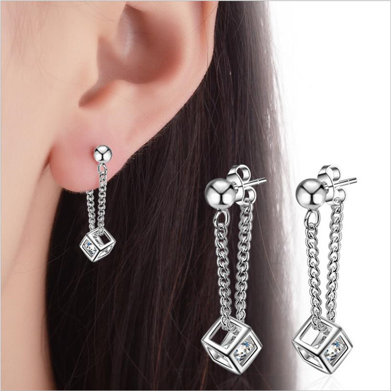 LUKENI Charm Female 925 Silver Earrings Jewelry New Fashion Crystal Cube Women Drop Earrings Accessories Lady Christmas Gift