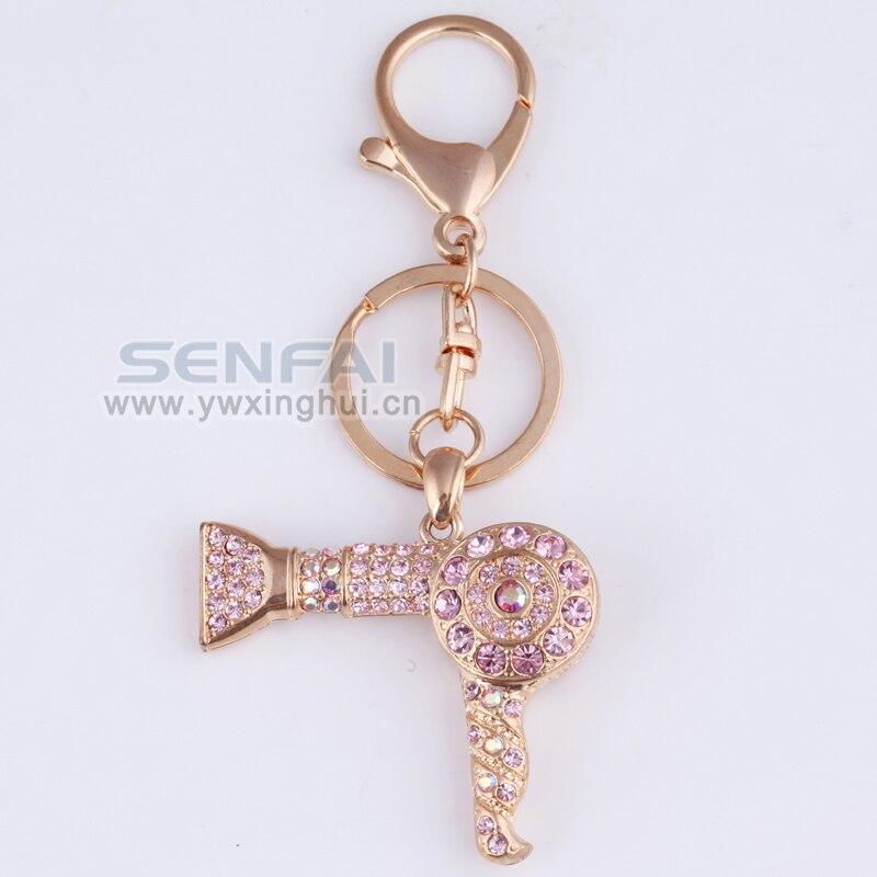 3D Chaveiro de Metal Anel Chave Chaveiro Chaveiros Kawaii cor de Rosa de  Ouro de Cristal Cheio de Secador de Cabelo Keychain Keyfob Chaveiro 0e5a86e4c1