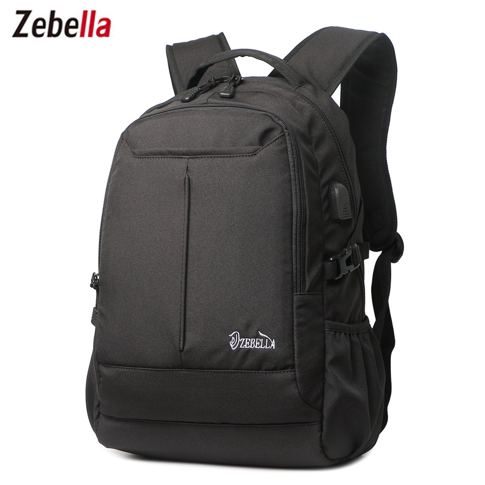 Zebella Fashion USB Charging Mens Backpacks 15 Laptop Travel Black Backbag Vintage Small Nylon Backpacking Student School Bag