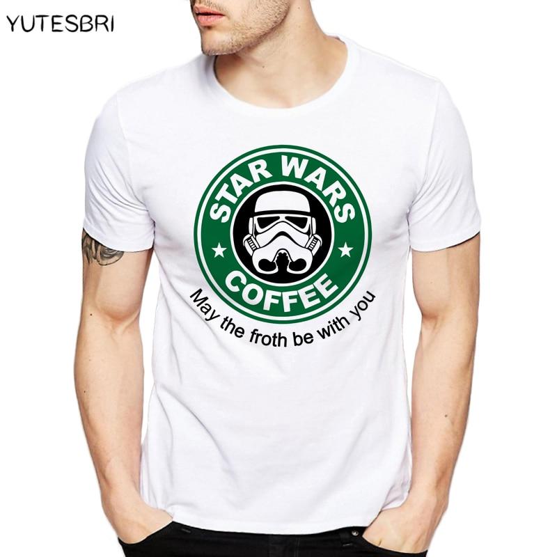 New Star Wars Mens Shirts Dath Vader Camisetas top tee white T Shirt StarWars Game Coffee Printing Casual tshirt