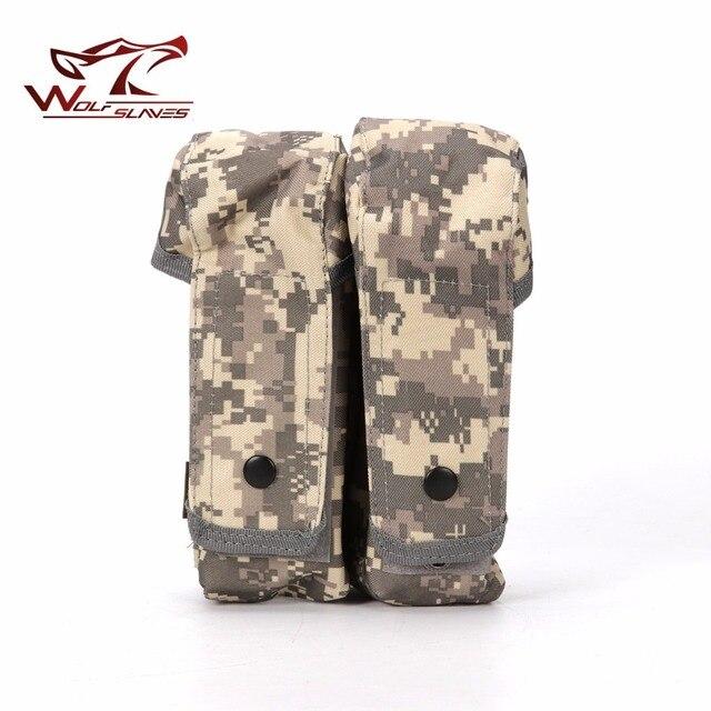 Tático Militar MOLLE Duplo Revista Bolsa Saco Clipe com Botões Para AK Airsoft Munição M4 Acessórios de Caça Pistola Mag Bolsa