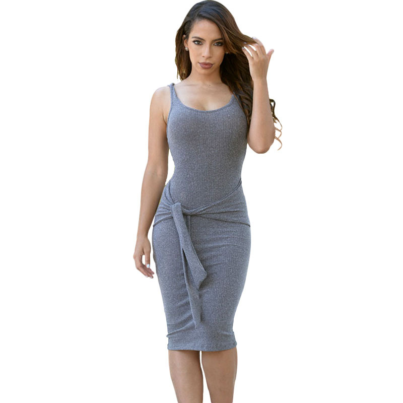9404a6cca6 New Fashion Gray Wine Bodycon Casual Tank Dress For Women Tie Waist  Sleeveless Pencil Dresses Off Shoulder Summer Dress-in Dresses from Women s  Clothing on ...