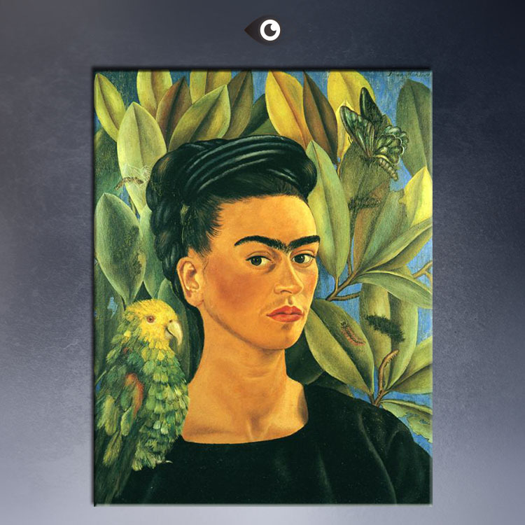 self portrait with bonito 1941 poster by frida kahlo print wall oil painting picture print on. Black Bedroom Furniture Sets. Home Design Ideas