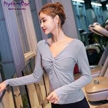 Women Yoga Shirts Female Running Tshirt Slim V-neck Fitness Long Sleeve Sport T-shirts Quick Dry Tops Elastic Gym Workout Blouse