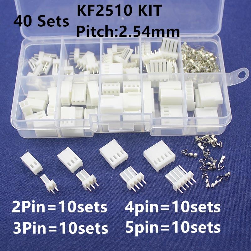 KF2510 Kits 40 sets Kit in box 2p 3p 4p 5 pin 2.54mm Pitch Terminal / Housing / Pin Header Connectors Adaptor