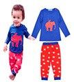 Мальчики дети устанавливает пижамы Детские Набор Слон печати пальто/кофты + Звезда шаблон брюки Дети случайные наборы мальчик долго рукава одежды