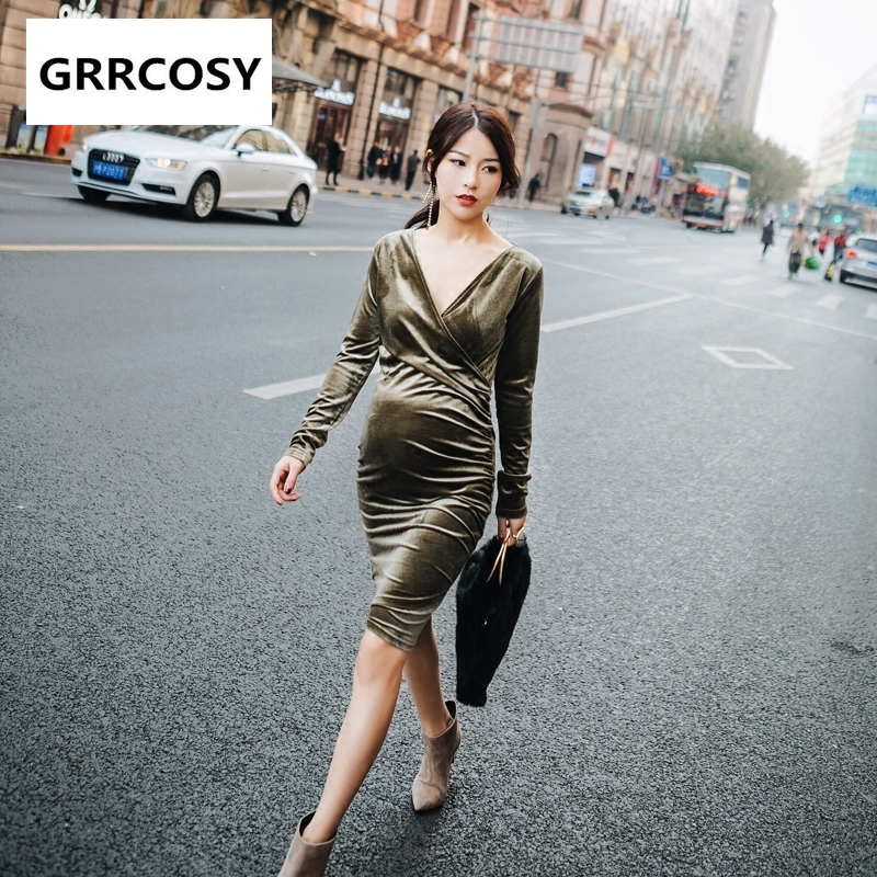 GRRCOSY Velour Maternity Breastfeeding Sexy Dress Autumn New Dress V-Neck Pregnant Woman Cloth scalloped v neck skater dress