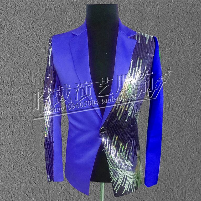 More Colors ! Men singer red black blue purple sequins suit jacket formal dress The host dress costumes ! S-5XL free shipping