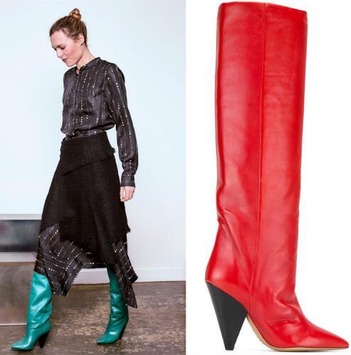 Модные брендовые сапоги до колена с острым носком; пикантная женская обувь на шпильках; женские кожаные зимние непромокаемые сапоги на высо...