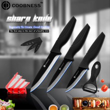 5 Piece Set Ceramic Knives COOBNESS Brand Red Knife Stand Peeler+3, 4, inch Black Blade Fruit Utility Slicing Kitchen