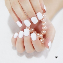 2016 24pcs hot fashion candy color cute nail finished fake nails short paragraph White  W