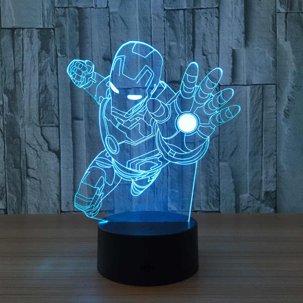 Acrylic light Novelty 7 color change 3D illusion led night light Iron Man mask Shape USB table lamp Living Room Decorative Lamp new bicycles 3d lights led 7 colorful remote control 3d lamp acrylic visual light novelty luminaria led night light