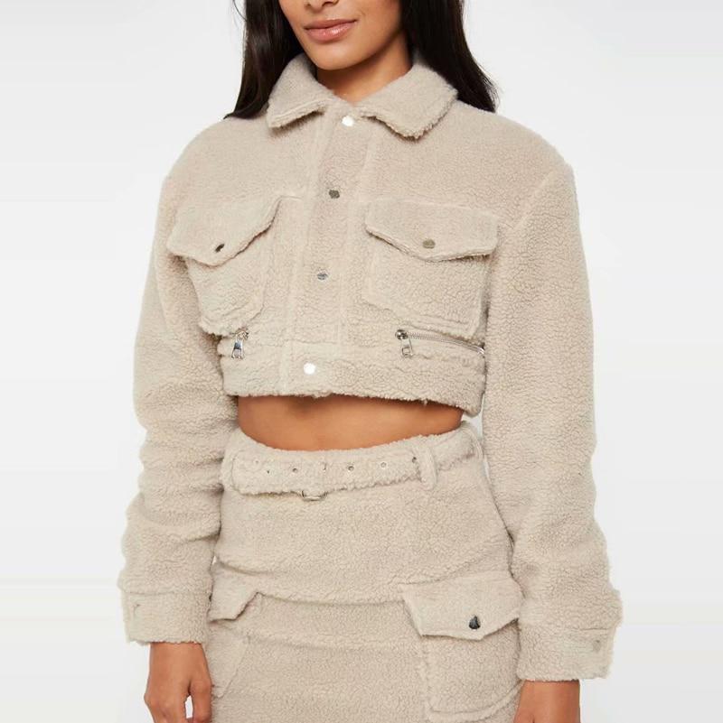 Women Fleece American Style Solid Wide Coat Street Zipper Length Winter Short Berber length Pocket Wear Top Jacket Front gFwUq