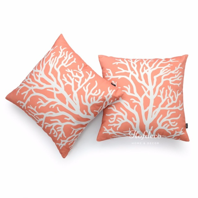 40Pcs Throw Pillow Cover Set Canvas Ivory Coral Coastal Nautical Sofa Fascinating Coastal Throw Pillow Covers