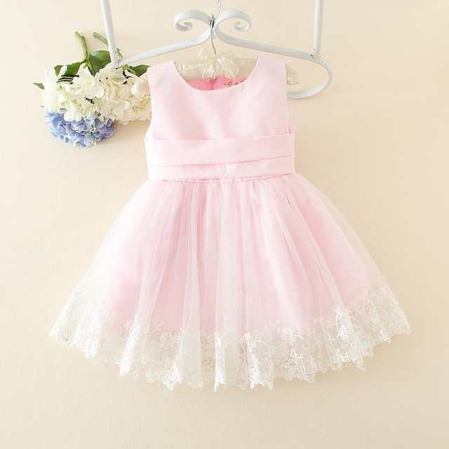 HOT White Pink New Design Girls Dress Party Wear Vestidos Formal Big Bowknot  On Back For 53274f80d