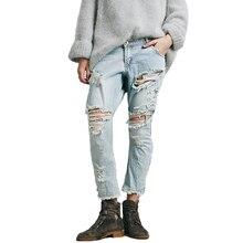 Rasgado recorte Sexy pantalones Jean más tamaño Light Blue Denim mujer vaqueros 2016 recién llegado de lavado Jean Boyfriend pantalones