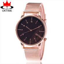 OKTIME Brand Fashion Silver And Rose Gold Mesh Band Wrist Watch Casual Women Quartz Watches Gift Relogio Feminino KT25