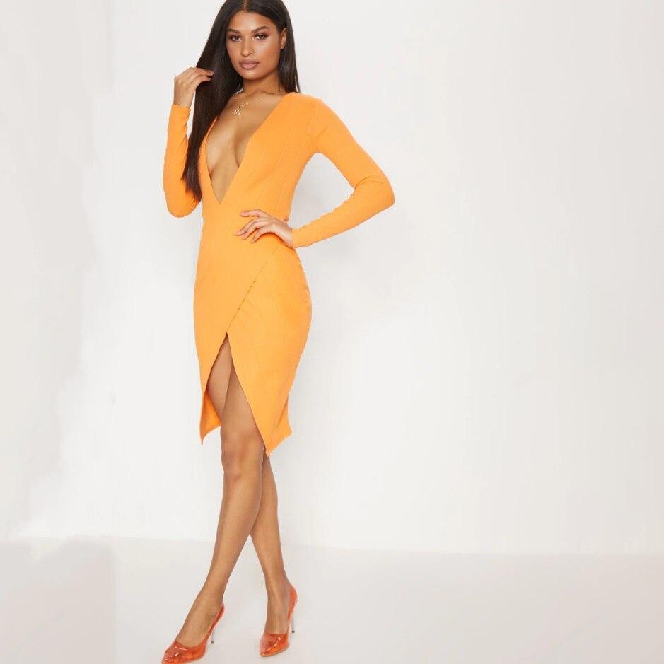 d7f5d0752b3 Nouvelle 2019 À Robe Rayonne Fendue Moulante V Profonde Orange Bandage  Manches Longues Cou Sexy De ...