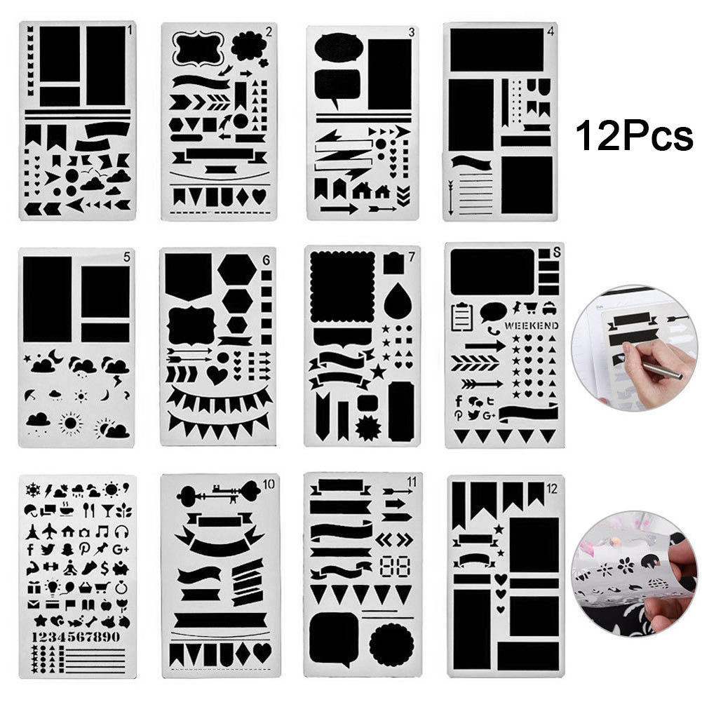 Plastic Planner Bullet Journal Stencils Set Diy Scrapbooking Diary Scrapbook Stationery Template Supplies Christmas Gift