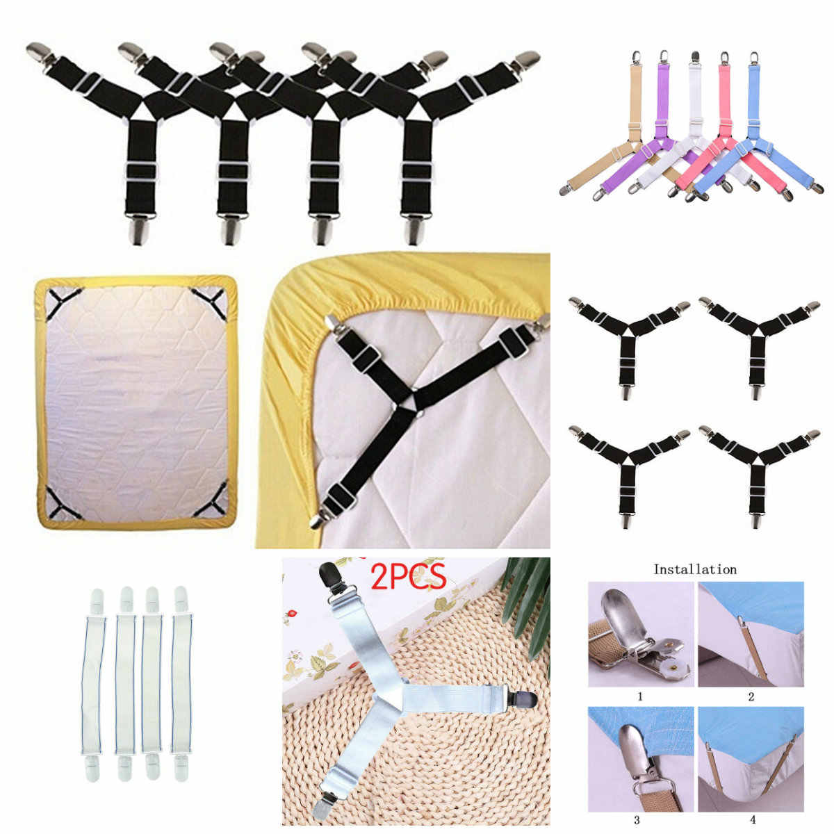 2/4 Pcs White/black Bed Sheet Mattress Cover Blankets Grippers Clip Holder Fasteners Elastic Set