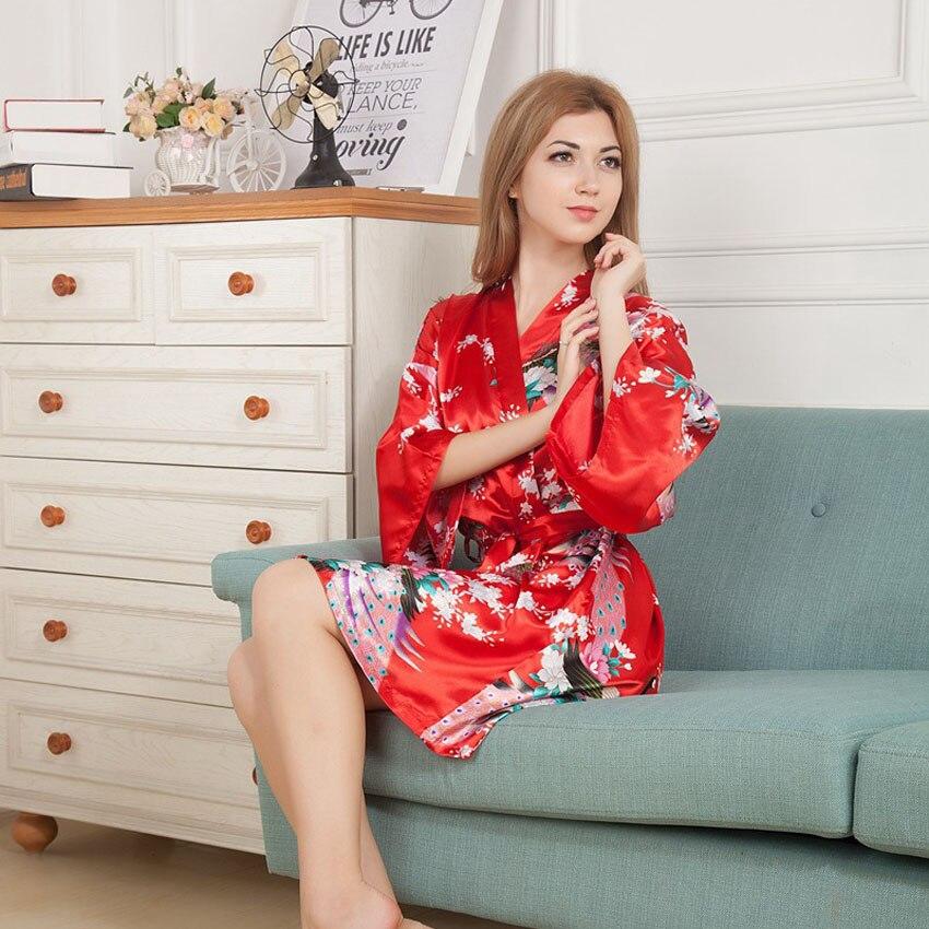 Home Wear Women Sleepwear Pajamas Japanese Traditional Kimonos Bath Robe Peacock Print Satin Soft Belt Women Yukata Dress
