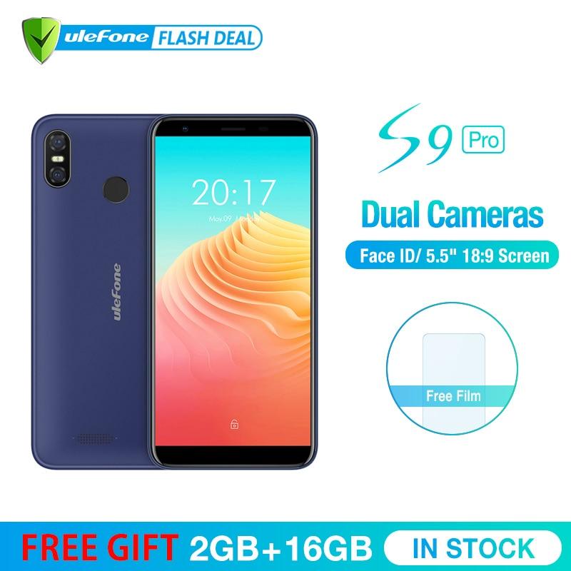 Ulefone S9 Pro 5.5 polegada HD + Android Telefone Móvel 8.1 gb RAM 16 MTK6739 Quad Core 2 gb ROM 13MP + 5MP Dual Câmeras Traseiras 4g Celular