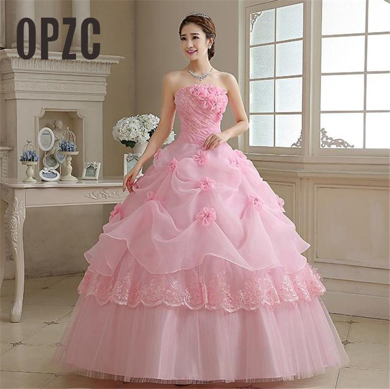 Real Photo vestido de noiva de 2017 New Koreal Style Flowers Strapless Pink Red Princess bridal Wedding Dress Lace Up Ball Gown