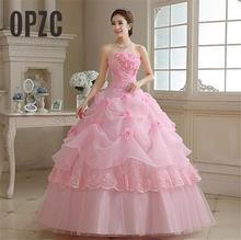 Real Photo vestido de noiva de 2020 New Koreal Style Flowers Strapless Pink Red Princess bridal Wedding Dress Lace Up Ball Gown