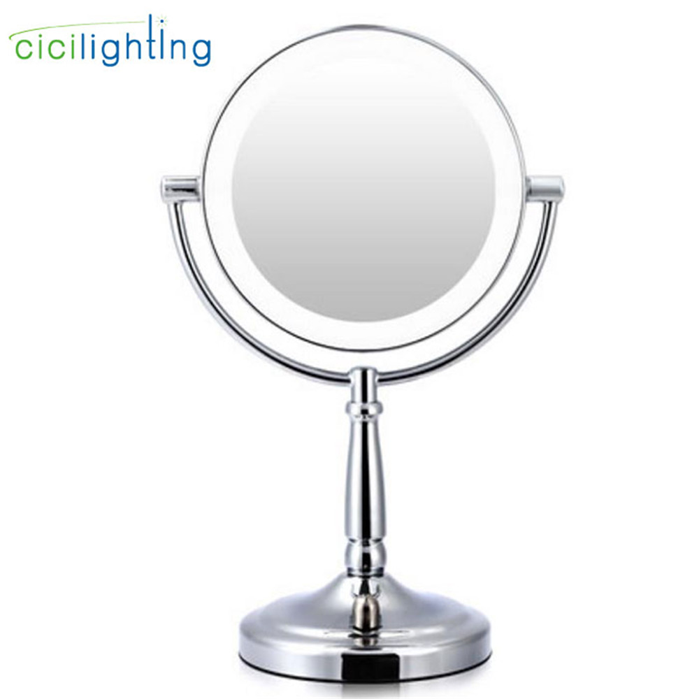 Battery Led Makeup Mirror Light, Knob Switch Dimmable Led Vanity Lights, Industrial Home Cosmetic Mirror + Light For Table