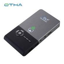 OTHA Full HD DLP Mini Proyector Portátil Android OS 8/16G 5000 mAh Batería DLNA HDMI Wifi Bluetooth casa Proyector con Trípode