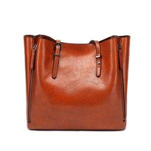 Image 3 - FUNMARDI Бренд Дизайн Восковая Кожаная Сумка Роскошные высококачественные женские сумки Высокоемкая Сумка Кожаная Сумка На Молнии WLHB1723B