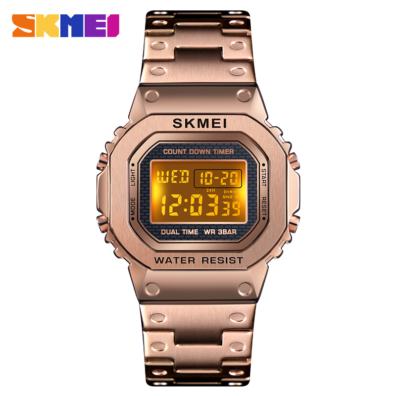 SKME Full Steel Men Digital Watch Women Luxury Watches Casual Stainless Countdown Alarm 12/24 Wristwatch Clock Male Reloj Mujer image