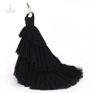Image 4 - Jusere fotos reales negro gótico Maxi vestido de graduación vestidos de copa cansado falda vestido de noche con cola 2019 nuevo