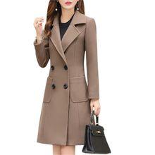 Long Slim Blend Outerwear 2019 Women Overcoat Wool Coat Autumn Winter Jacket Clothes