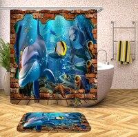 3D Unterwasser Welt Muster Dusche Vorhänge Delphin Seestern Bad Vorhang Wasserdicht Verdickt Bad Vorhang Anpassbare|Duschvorhänge|   -