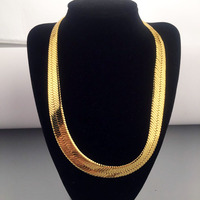 High Quality 50CM 15MM Hip Hop Mens Herringbone Chain Golden Necklace Rapper Chunky Chain Boys Rapper