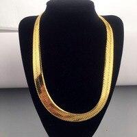 High Quality 50CM 15MM Hip Hop Mens Herringbone Chain Golden Necklace Rapper Chunky Chain Boys Rapper